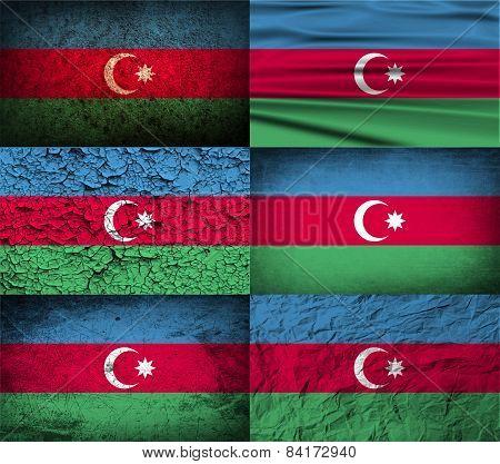 Flag Of Azerbaijan With Old Texture. Vector