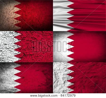Flag Of Bahrain With Old Texture. Vector