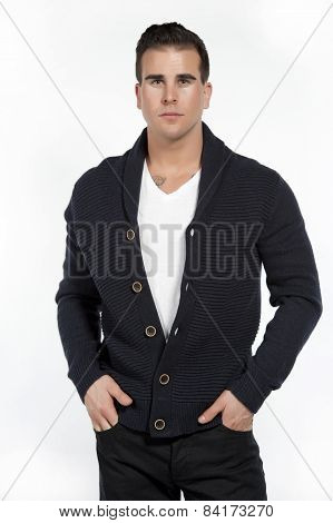 White Athletic Male in Sweater