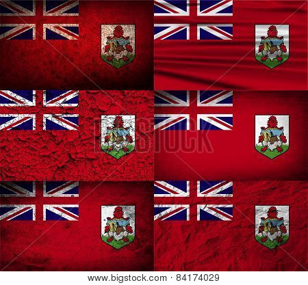 Flag Of Bermuda With Old Texture. Vector