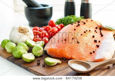 Fresh Salmon With Vegetables - Ready To Eat, Ready To Cook.