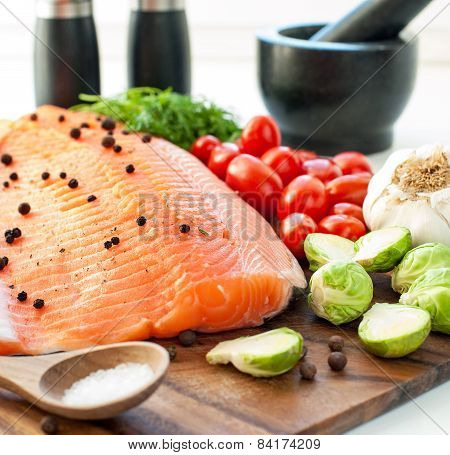 Fresh Salmon With Vegetables - Ready To Eat, Ready To Cook. Square Image.