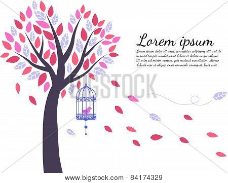 wallpaper tree is leaf fall and bird cage