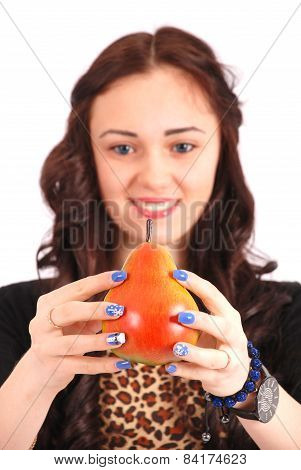 Teen Girl Offering Viewer An Pear