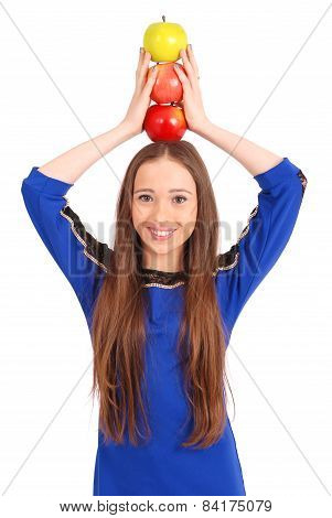 Young Girl Holds An Three Apples