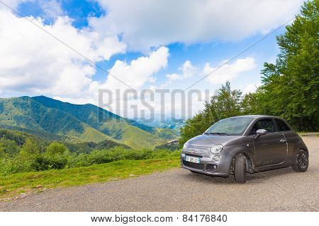 Fiat 500 Hatchback Parked In The Pyrenees