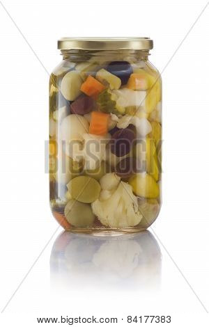 Glass Jar Of Pickled Vegetables Mix