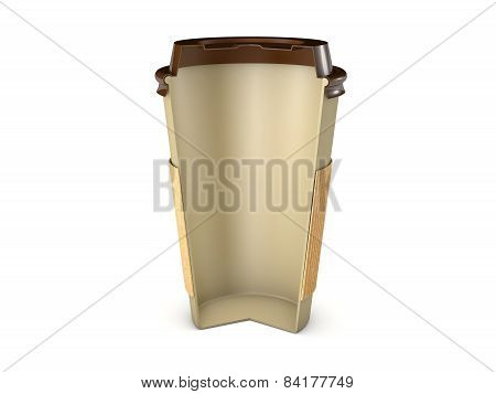 Takeaway coffee cup section with lid