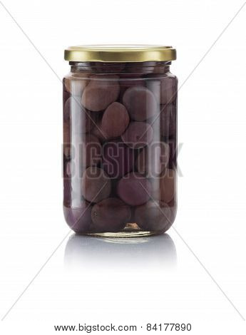Glass Jar Of Pickled Black Olives