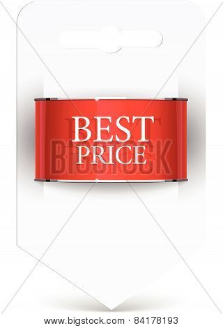Sale label Blank paper with ribbon.