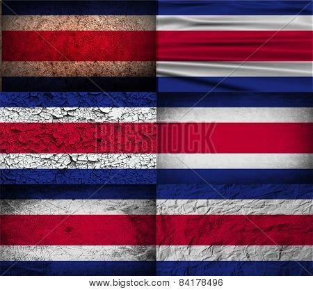 Flag Of Costa Rica With Old Texture. Vector