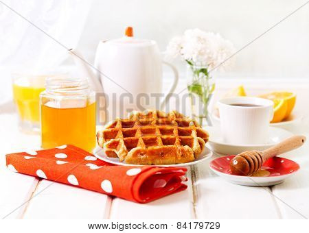 Breakfast With Waffles, Honey And Coffee