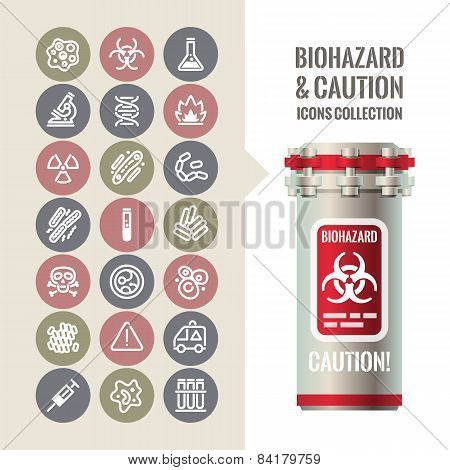 Biohazard and Caution Icons Collection