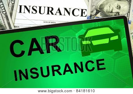 Tablet with car insurance online and money.