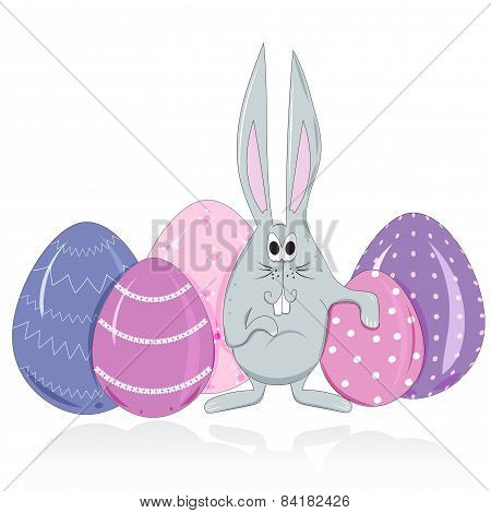 Easter Bunny And Eggs In A Cartoon Style Vector