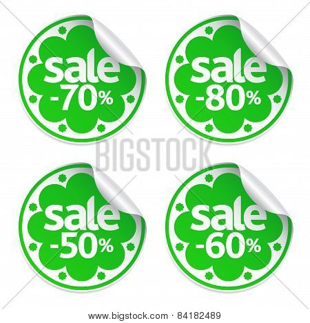 Sale green stickers set