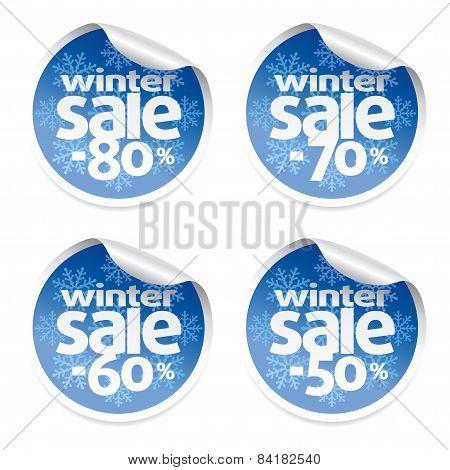 Set Winter  sale stickers