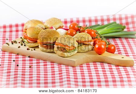 Small sandwiches on a table