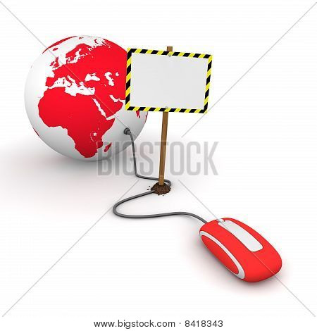 Surfing The Web In Red - Blocked By A White Rectangular Sign With Warning Stripes