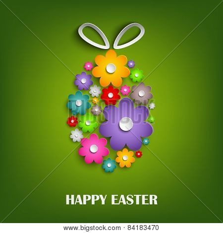 Easter Card With Floral Egg