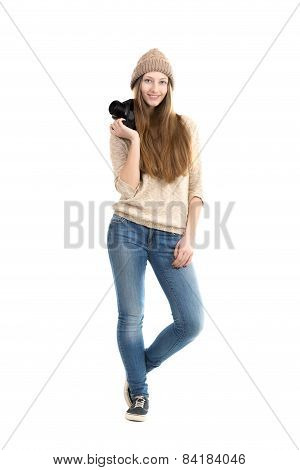 Smiling Young Female Standing With Slr Camera