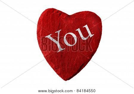 red heart with you writing and white background