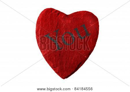 red heart with you writing