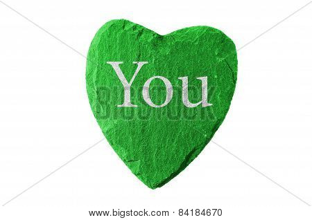 green heart with you writing
