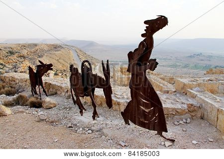 Farm Animals And Human Statues In The Negev Desert, En Avdat National Park,