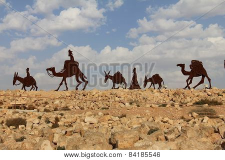 Camels Caravan In The Negev Desert, En Avdat National Park