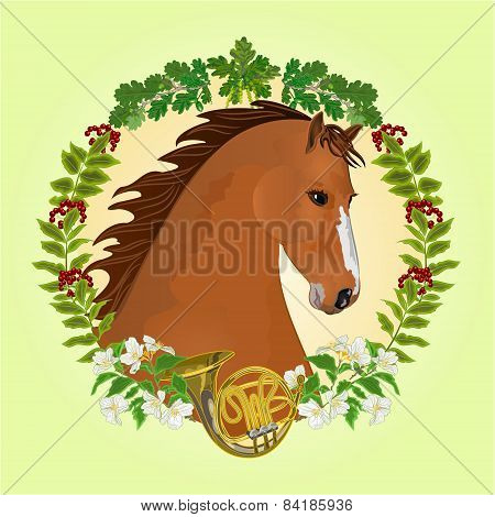Chestnut Horse Hunting Theme Vector