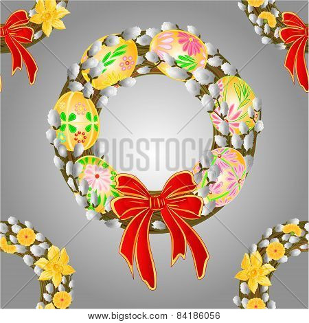 Seamless Texture Wreath With Pussy Willow And Easter   Eggs Vector