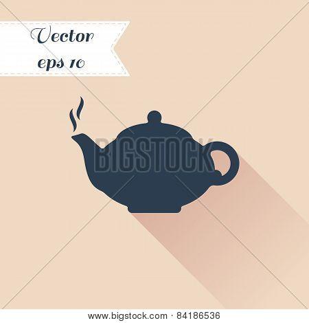 Teapot Silhouette Icon. Flat Design