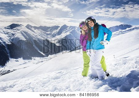 Ski people on winter mountain alpine resort