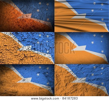 Flag Of Tierra Del Fuego Province With Old Texture. Vector