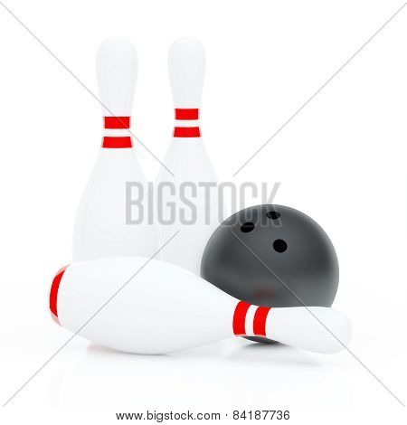 Three Skittles And Ball For Bowling (3D Render)