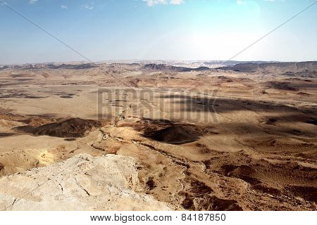 Ramon Crater At Negev Desert  And Bright Sunset