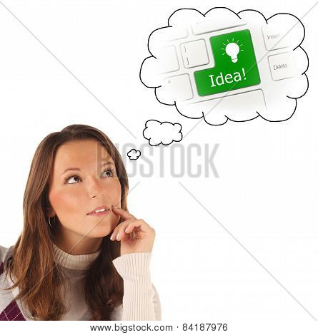 Close-up Portrait Of Girl Dreaming About On-line Help Service (isolated)