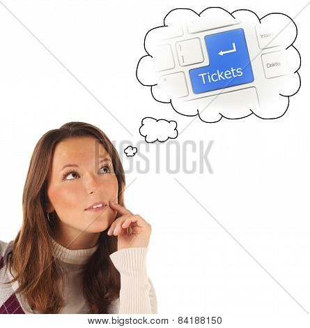 Close-up Portrait Of Girl Dreaming About On-line Tickets Order Service (isolated)