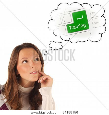 Close-up Portrait Of Girl Dreaming About On-line Training (isolated)