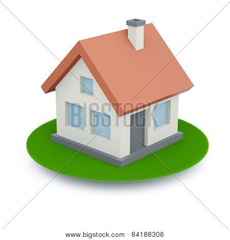Colored Home With Green Lawn Isolated On White Background (3D Render)
