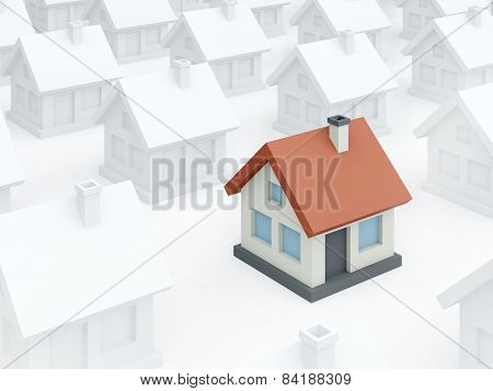 Colored Toy Home Among Ordinary White Houses (3D Render)