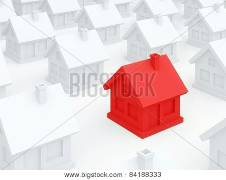 Red Dangerous Home Among Ordinary White Houses (3D Render)