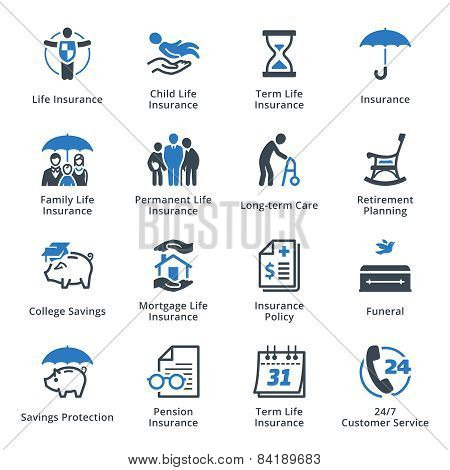 Life Insurance Icons - Blue Series