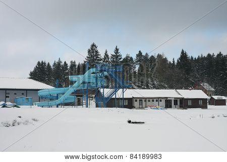 Abandoned Aquapark In Winter