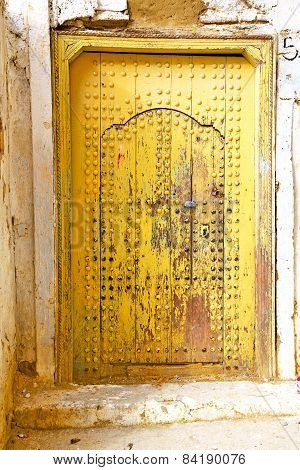 Historical In  Antique Building Door Yellow