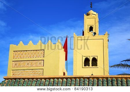 The History  Symbol  In Morocco  Green Roof Tile Red Flag