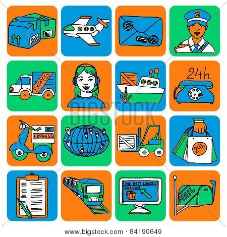 Logistic cartoon icons color