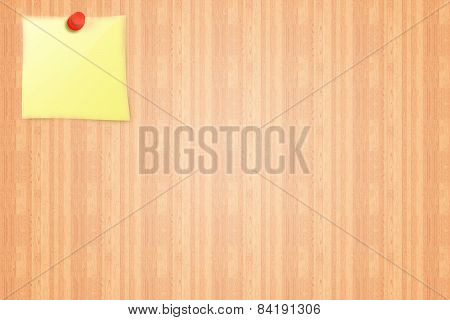 Yellow sticker on a wooden board background from notice