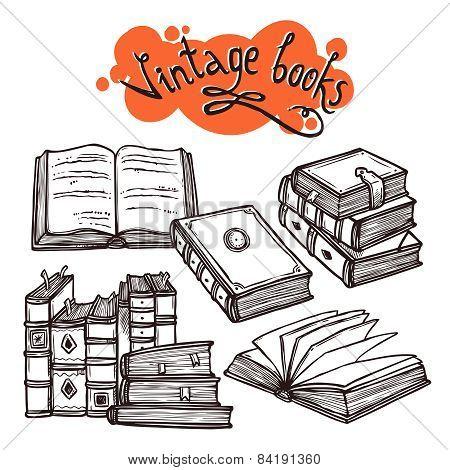 Books Set Black And White